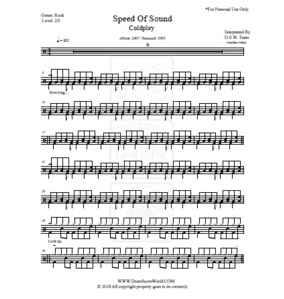 Coldplay - Speed Of Sound - Drum Score, Drum Sheet,Drum Note