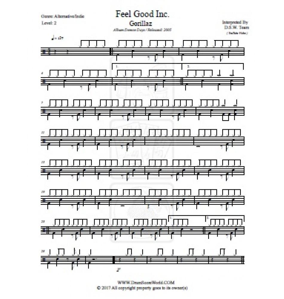 Gorillaz - Feel Good Inc  - Drum Score