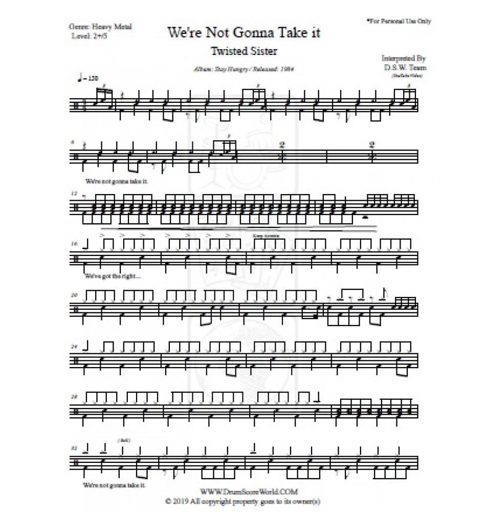 twisted sister - we're not gonna take it - drum score, drum sheet,drum  note,drum transcription,score de tambour,partitions de batteries,  schlagzeug-score, punteggio di batteria, puntaje de batería, pontuação do  tambor,ドラムスコア, 鼓得分 ,북 점수,  drum score world