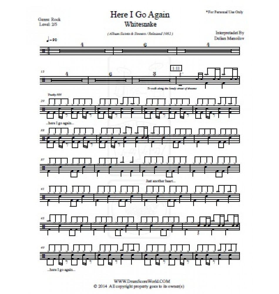 Whitesnake Here I Go Again Drum Score Drum Sheet Drum Note Drum